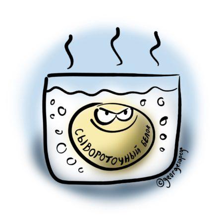 Довольный сывороточный белок в кипящем молоке